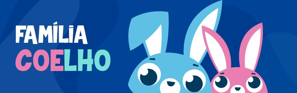 Banner da Coleção Família Coelho, mostrando dois coelhos um azul e outro rosa com o texto Família Coelho