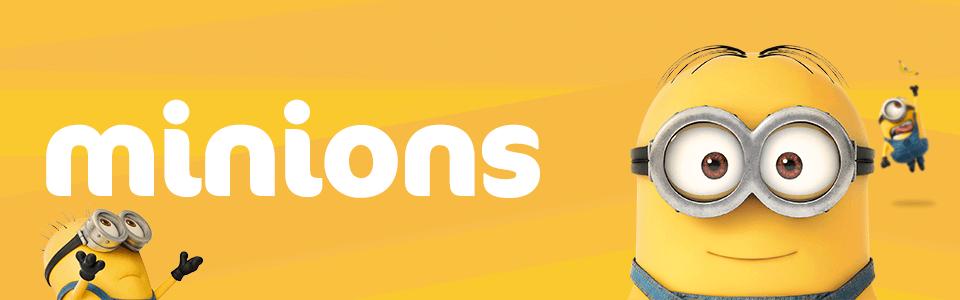Banner da Minions que chegou na Puket! Na imagem estão sendo mostrados 3 minions com o texto Minions