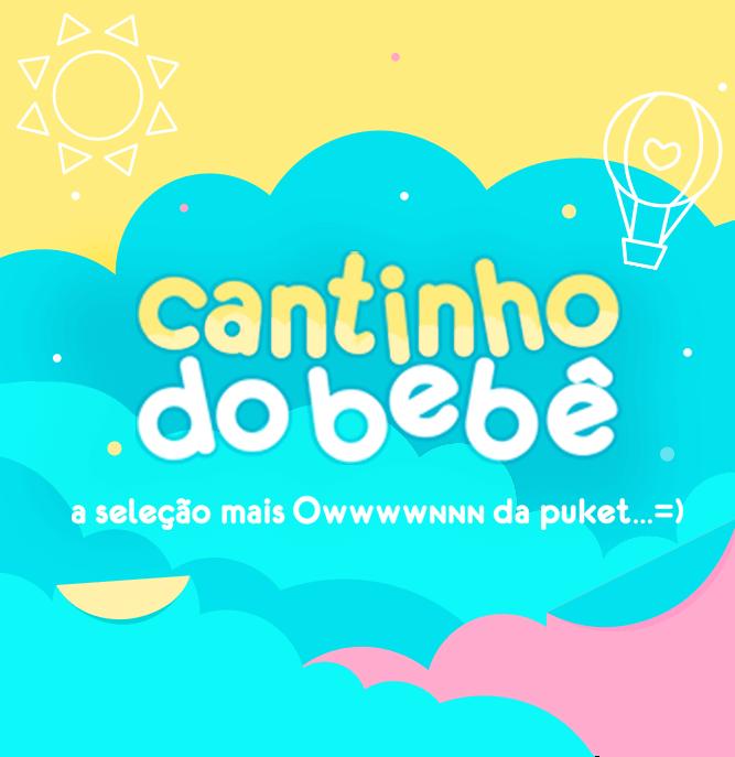 Na imagem é apresentados o texto Cantinho do bebê a seleção mais Own da Puket com algumas nuvens coloridas