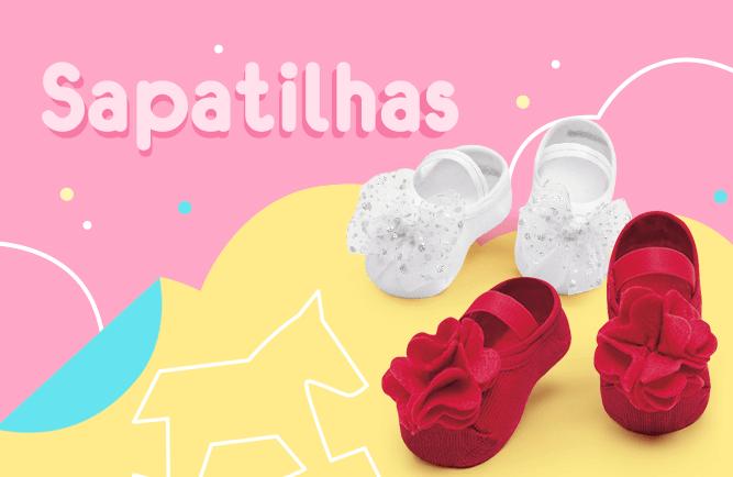 Sapatilhas! Na imagem tem 2 sapatilha de bebê uma vermelha e uma branca