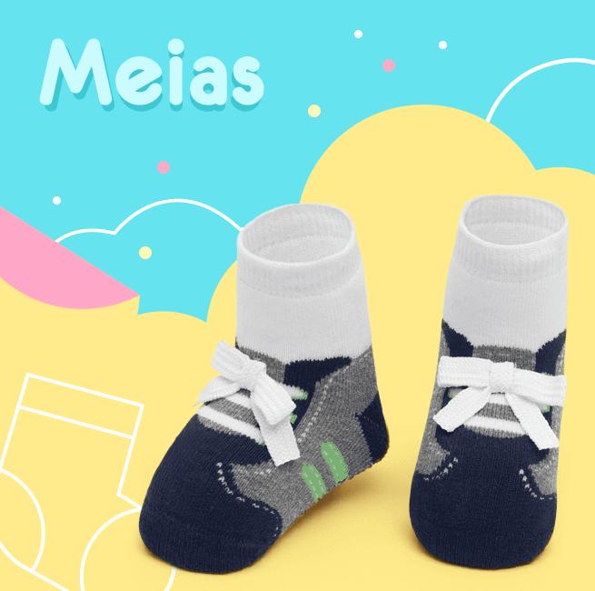 Meias! Na imagem é apresentada uma meia a onde a estampa lembra um tênis com o texto meias escrito na imagem