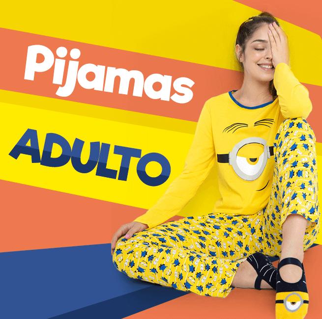 Pijamas Adulto! Na imagem temos uma mulher usando o pijama toda amarelo da coleção minions.