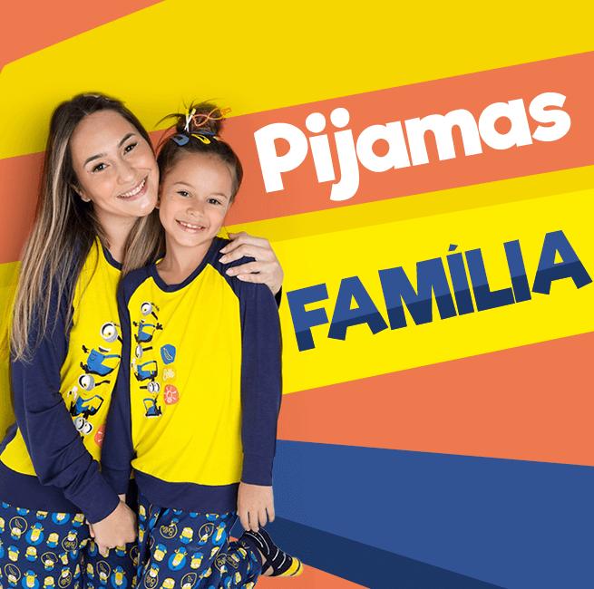 Pijama em Família! Na imagem temos uma mãe e uma filha usando um conjunto de pijamas da coleção minions.