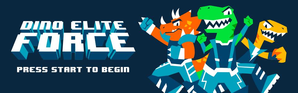 Banner da Coleção Dino Elite Force, mostrando três dinossauros alegres