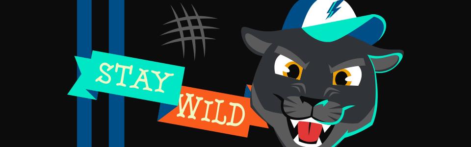 Banner da Coleção Pantera, mostrando uma patera com o texto Stay Wild