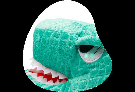 Imagem mostrando o detalhe no olho do Dinossauro que possuem LEDs brilhantes