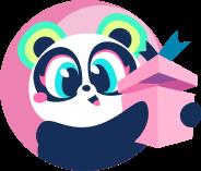 Personagem Panda rosa com caixa de presente