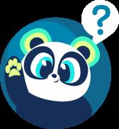 Personagem Panda azul com a pata levantada