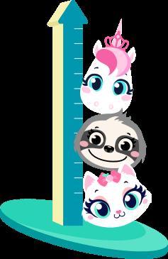 Personagens Unicórnio, Gata, e Bicho Preguiça ao lado de um medidor de altura